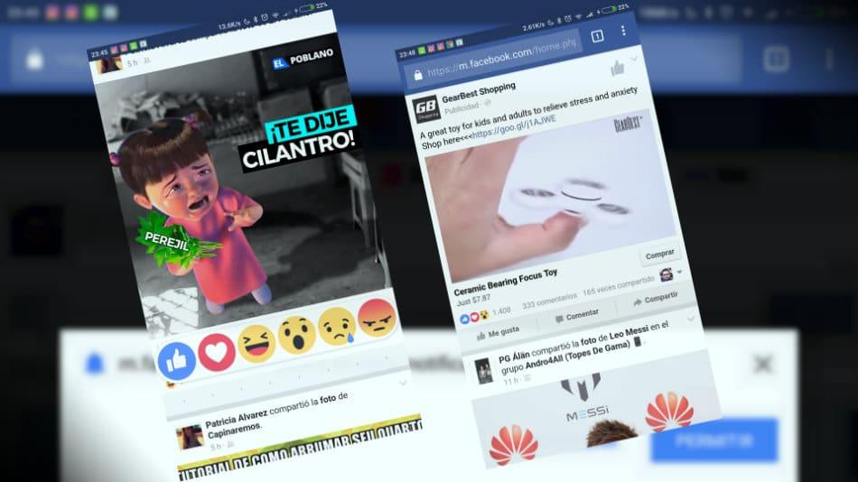 Facebook en el navegador chrome del móvil