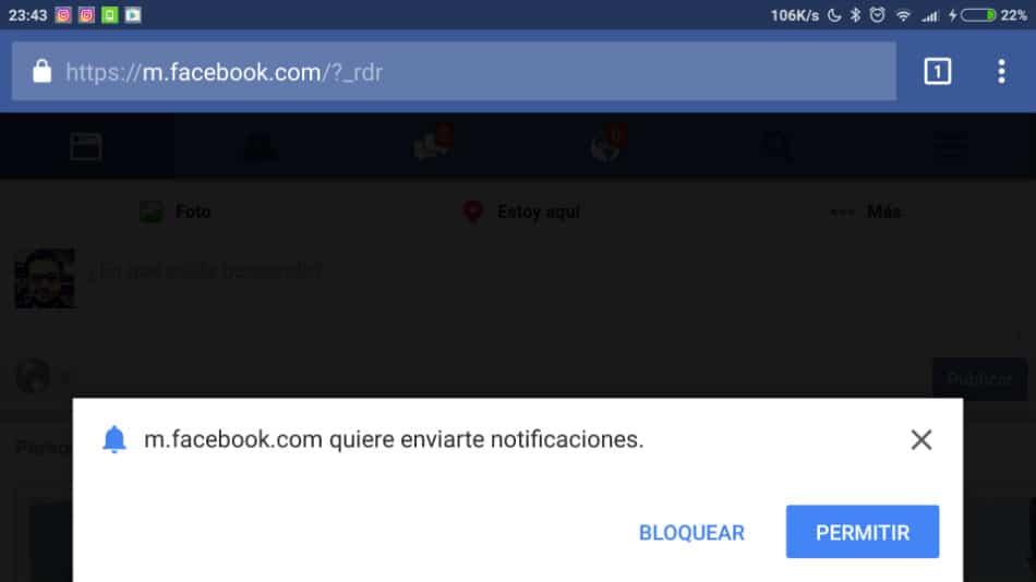 Facebook en el navegador del móvil