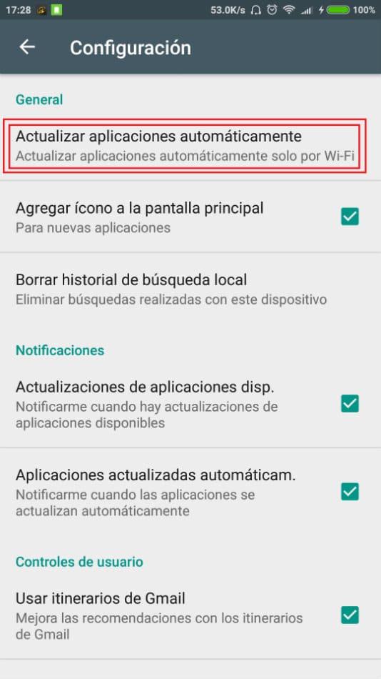 Quitar actualizaciones automaticas Google Play 3