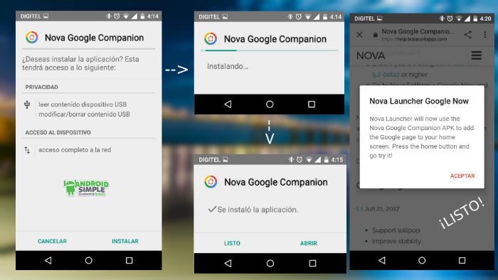 Tener Google Now en Nova Launcher