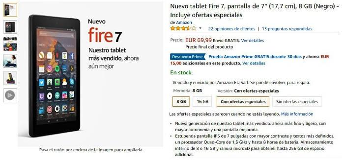Descuento en Amazon Kindle Fire 7 pulgadas