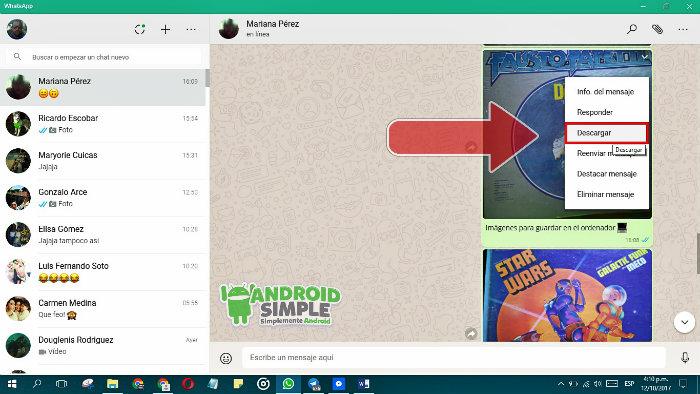 Envío de imágenes por Whatsapp al ordenador 2