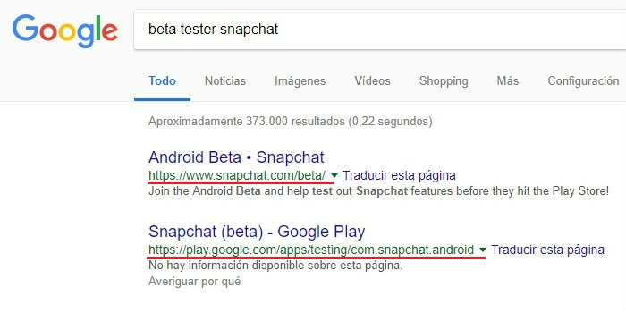 busqueda google beta tester ejemplo