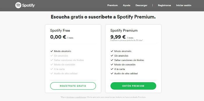 modalidades de pago spotify