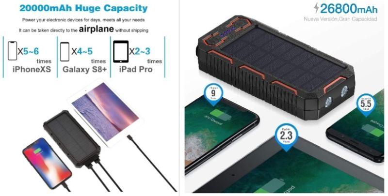 capacidad powerbank solar